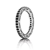 Pandora Design Sterling Silver And Black Cubic Zirconia Ring