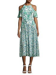 Donna Morgan Floral Print Cold Shoulder Dress Turquoise Multicolor