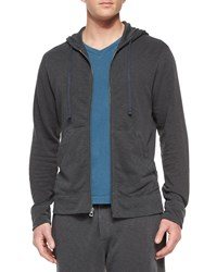 James Perse Cotton Knit Zip Hoodie Charcoal Grey
