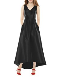 Alfred Sung V Neck Sleeveless High Low Sateen Twill Gown Black