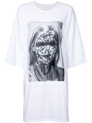 Strateas Carlucci Oversized Printed T Shirt Women Cotton S White