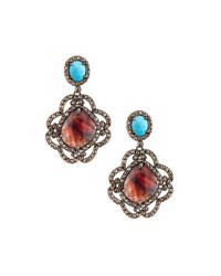 Bavna Champagne Diamond Turquoise And Sapphire Drop Earrings