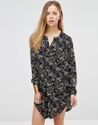 Only Printed Longline Shirt With Side Splits Black