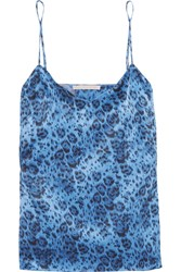 Stella Mccartney Ellie Leaping Leopard Print Stretch Silk Satin Camisole Blue