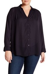 14Th And Union Long Sleeve Pleated Tunic Plus Size Blue