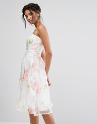 Elise Ryan Bandeau Midi Dress In Floral Organza Multi