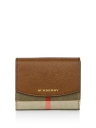 Burberry Luna House Check Derby Leather French Wallet Tan