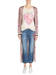Oui Space Dyed Cardigan Pink Blue