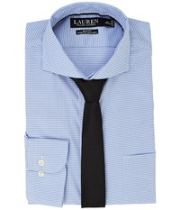 Lauren Ralph Lauren Stretch Slim Fit Pinpoint English Spread Collar With Pocket Dress Shirt White Regent Blue Men's Long Sleeve Button Up