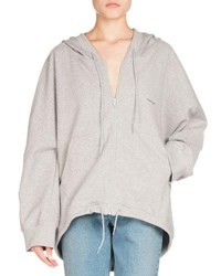Balenciaga Hooded Zip Front Cocoon Sweatshirt Light Gray