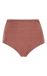 Tori Praver Swimwear Daphne Embroidered Eyelet High Waist Bikini Bottom Brown