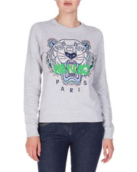Kenzo Embroidered Logo Crewneck Sweatshirt Light Gray Light Grey