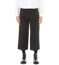 Mcq By Alexander Mcqueen Smith Relaxed Fit Wide Leg Stretch Wool Trousers Darkest Black