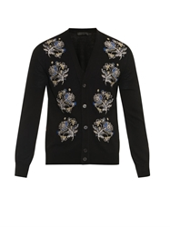 Alexander Mcqueen Floral Embroidered Wool Blend Cardigan
