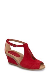 Women's Earth 'Caper' T Strap Wedge Sandal Bright Red Suede