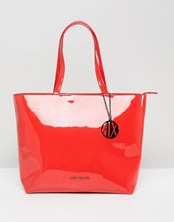Armani Exchange Smooth Red Tote Bag Poppy Red
