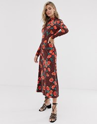 Free People Retro Romance Floral Midi Dress Brown