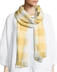 Eskandar Check Scarf With Fringes Gray
