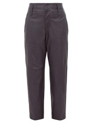 Brunello Cucinelli High Rise Tapered Leather Trousers Navy