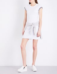 James Perse Short Sleeved Cotton Dress White Heather Charcoal