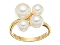Majorica White Round Pearl Cluster Gold Plated White Ring