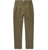 Eidos Slim Fit Pleated Washed Linen Twill Trousers Army Green