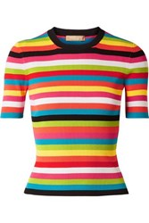 Michael Kors Collection Striped Ribbed Knit Top Pink