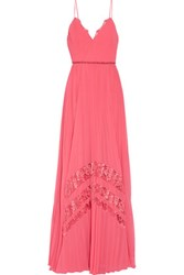 Badgley Mischka Embellished Lace Trimmed Plisse Chiffon Gown Coral