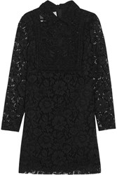 Valentino Corded Lace And Beaded Tulle Mini Dress Black