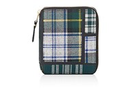 Comme Des Garcons Men's Plaid Coin Pocket Zip Around Wallet Green