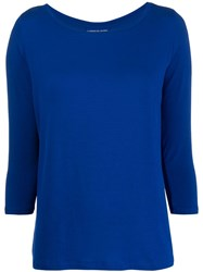 Majestic Filatures Cropped Sleeve Knitted Top Blue