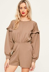 Missguided Tan Balloon Frill Sleeve Playsuit Brown