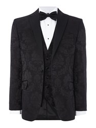 New And Lingwood Men's Downton Sb1 Black Satin Peak Lapel Blazer Black