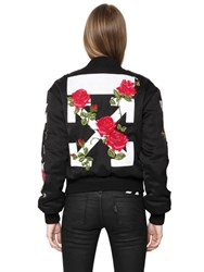 Off White Embroidered Washed Satin Bomber Jacket