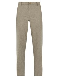 Giorgio Armani Relaxed Fit Wool Blend Trousers Beige
