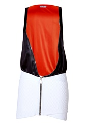 Paco Rabanne Colorblock Zipper Dress In Black White White
