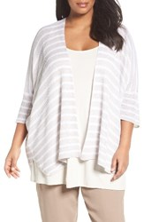 Eileen Fisher Plus Size Women's Organic Linen Stripe Cardigan