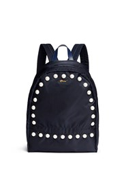 Muveil Faux Pearl Nylon Backpack Blue