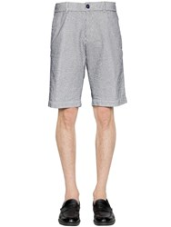 Z Zegna Striped Stretch Cotton Seersucker Shorts