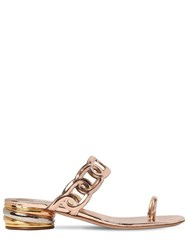 Casadei 30Mm Edwige Metallic Leather Sandals Rose Gold