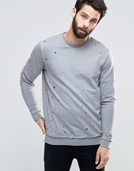 Only And Sons Crew Neck Sweat With Oil Wash Detail Black