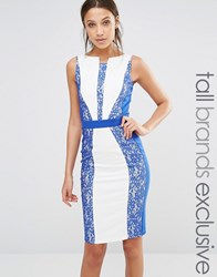 Paper Dolls Tall Sleeveless Pencil Dress With Colour Block Lace Panel Detail Blue Cream