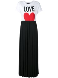 Love Moschino Pleated Skirt T Shirt Dress Women Cotton Polyester Spandex Elastane 42 Black