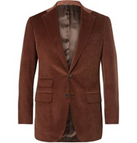 Thom Sweeney Slim Fit Cotton And Cashmere Blend Corduroy Suit Jacket Brown