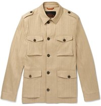 Tod's Sahariana Washed Cotton And Linen Blend Field Jacket Beige
