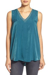 Petite Women's Pleione Sheer Inset V Neck Blouse Hunter Green