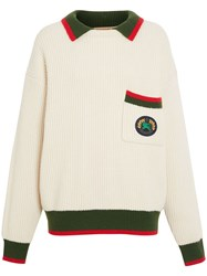 Burberry Olivine Contrasting Collar Knitted Jumper Neutrals