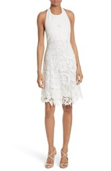 Alice Olivia Women's Susan Lace Halter Dress Off White