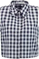 Tanya Taylor Sarah Cropped Plaid Cotton Top Blue