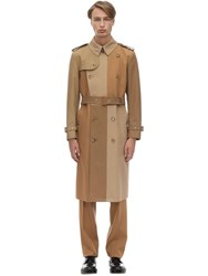 Burberry Patchwork Cotton Canvas Trench Coat Warm Camel